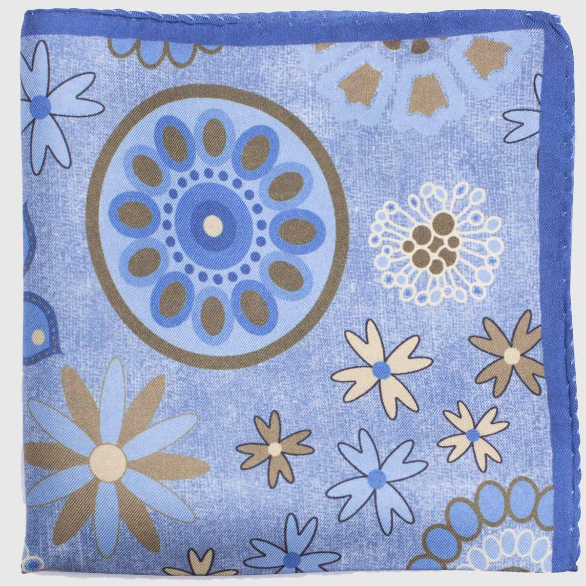 Circle and flowers pocket square