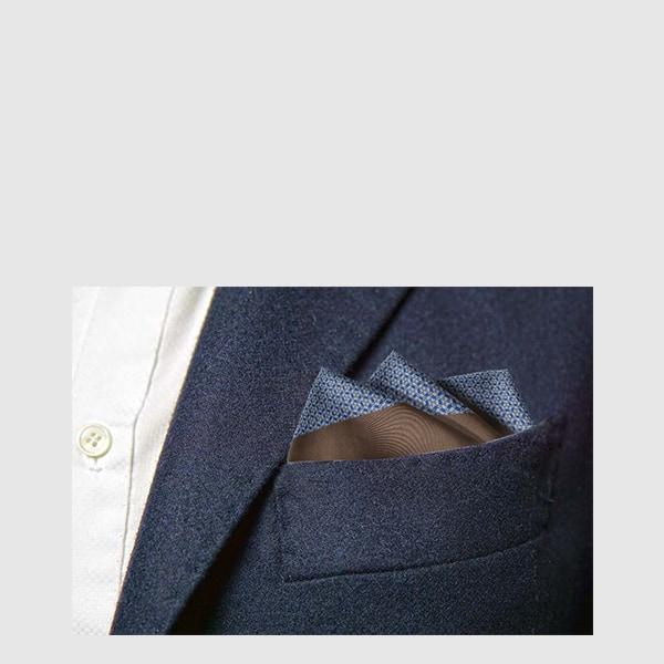 Silk pocket square with optical fantasy