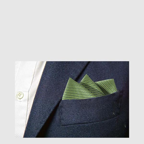 Pocket square silk blue micro-fantasy