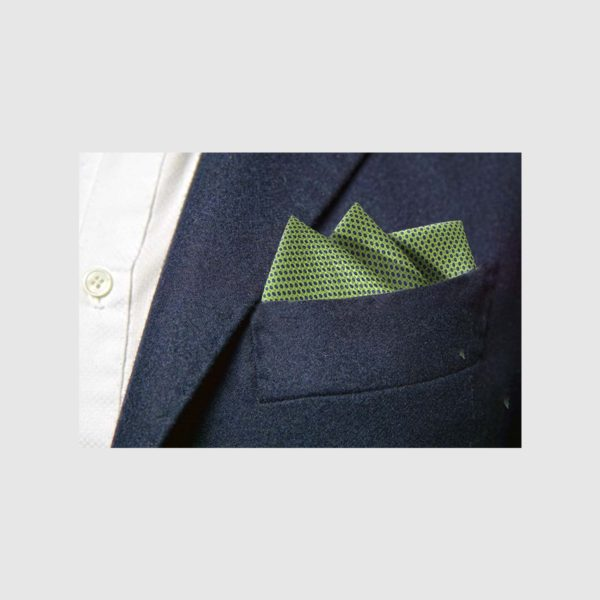 Pochette 100% seta micro-fantasia blu fondo verde