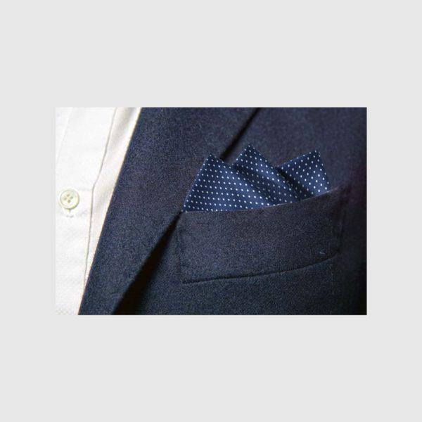 Pochette 100% seta micro-fantasia blu fondo blu pois bianchi
