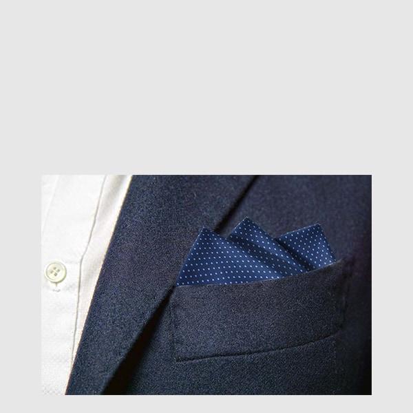 Blue dot silk pocket square