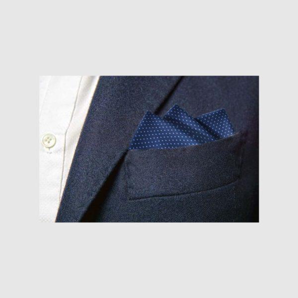 Pochette 100% seta micro-fantasia blu fondo blu pois azzurri