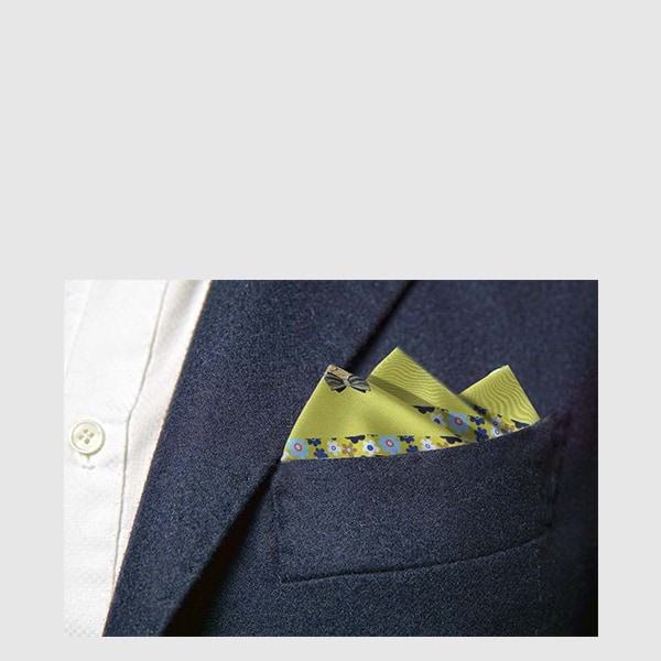 Silk pocket square with flowers on the edges