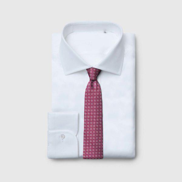 Cravatta 5 pieghe borgogna chiaro con fiori