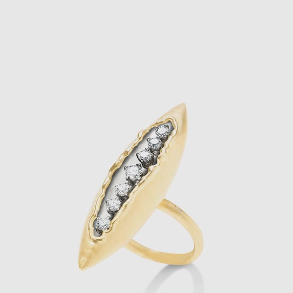 Ring in white and yellow Gold with brilliants