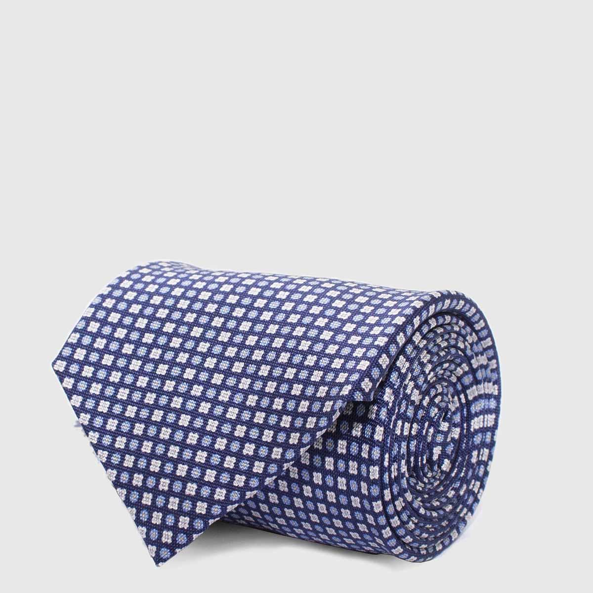 Cravatta 5 piegheblu con fiori celesti e bianchi