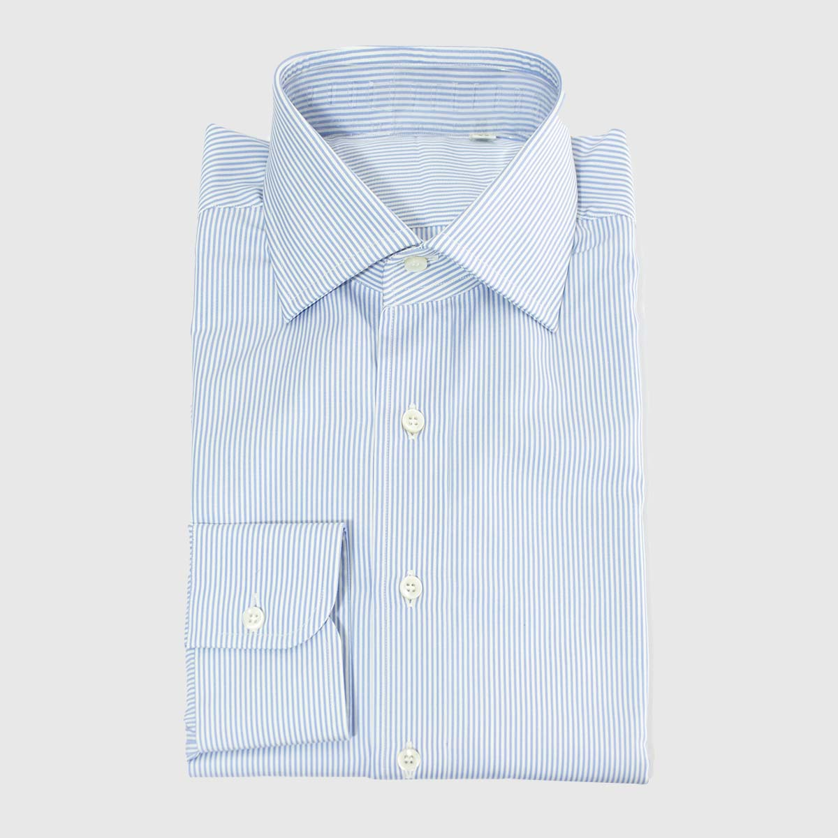 White and Azure Striped Popelin Shirt