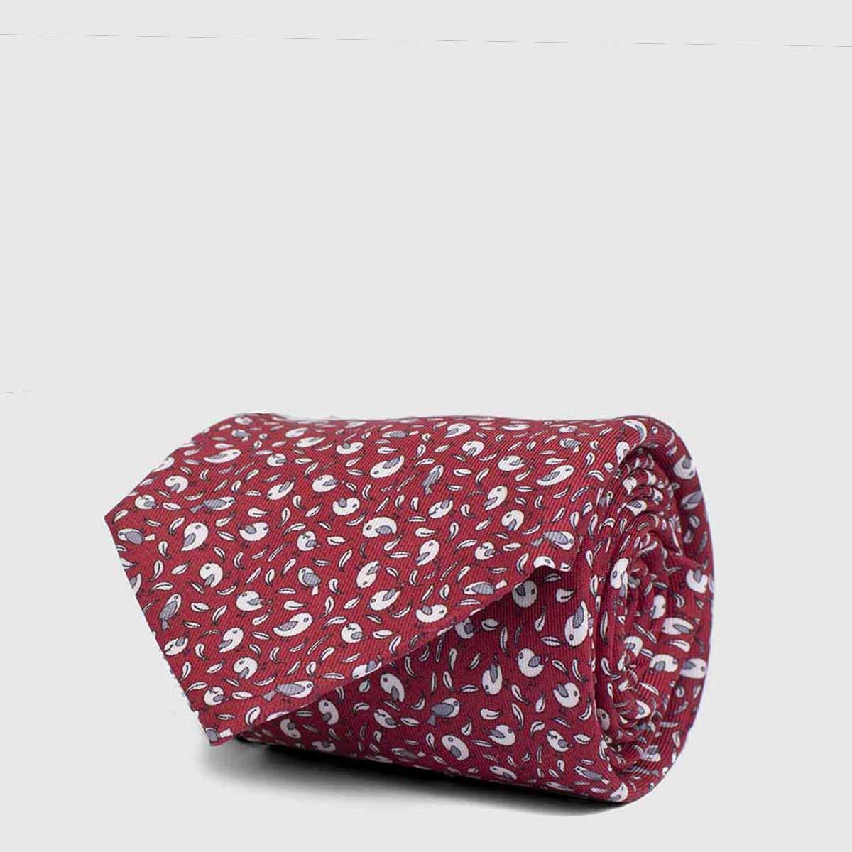 Red background 5-Fold Tie with micromotiv birds
