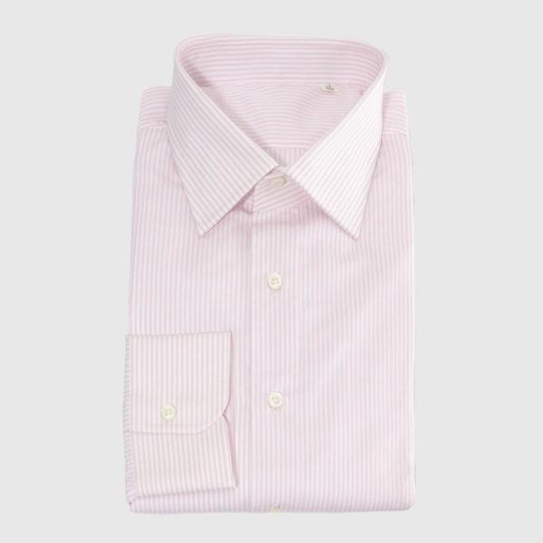 Camicia Popeline riga rosa bianca