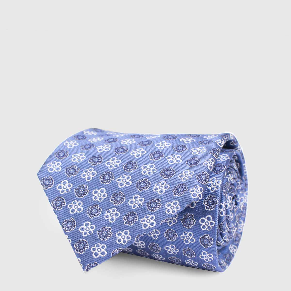 Blue 5-Folds Tie with floral print