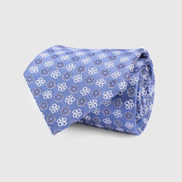 Cravatta 5 pieghe blu con stampa floreale