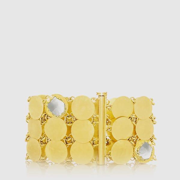 Bracciale in oro martellato giallo e bianco