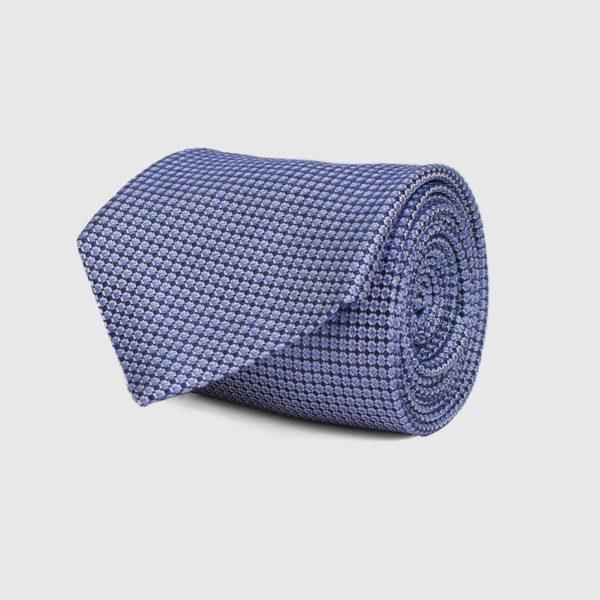 Cravatta 5 pieghe di colore blu e bianco