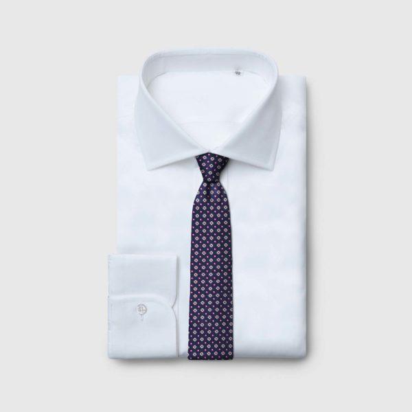 Cravatta 5 pieghe con fiori e pois rosso bianco