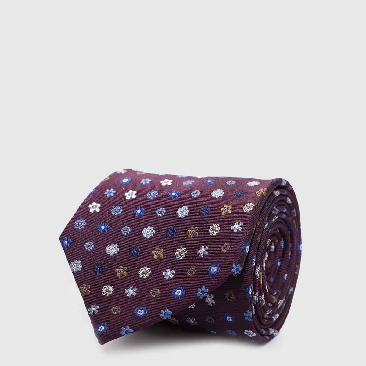 Cravatta 5 pieghebordeaux con fiori di vari colori