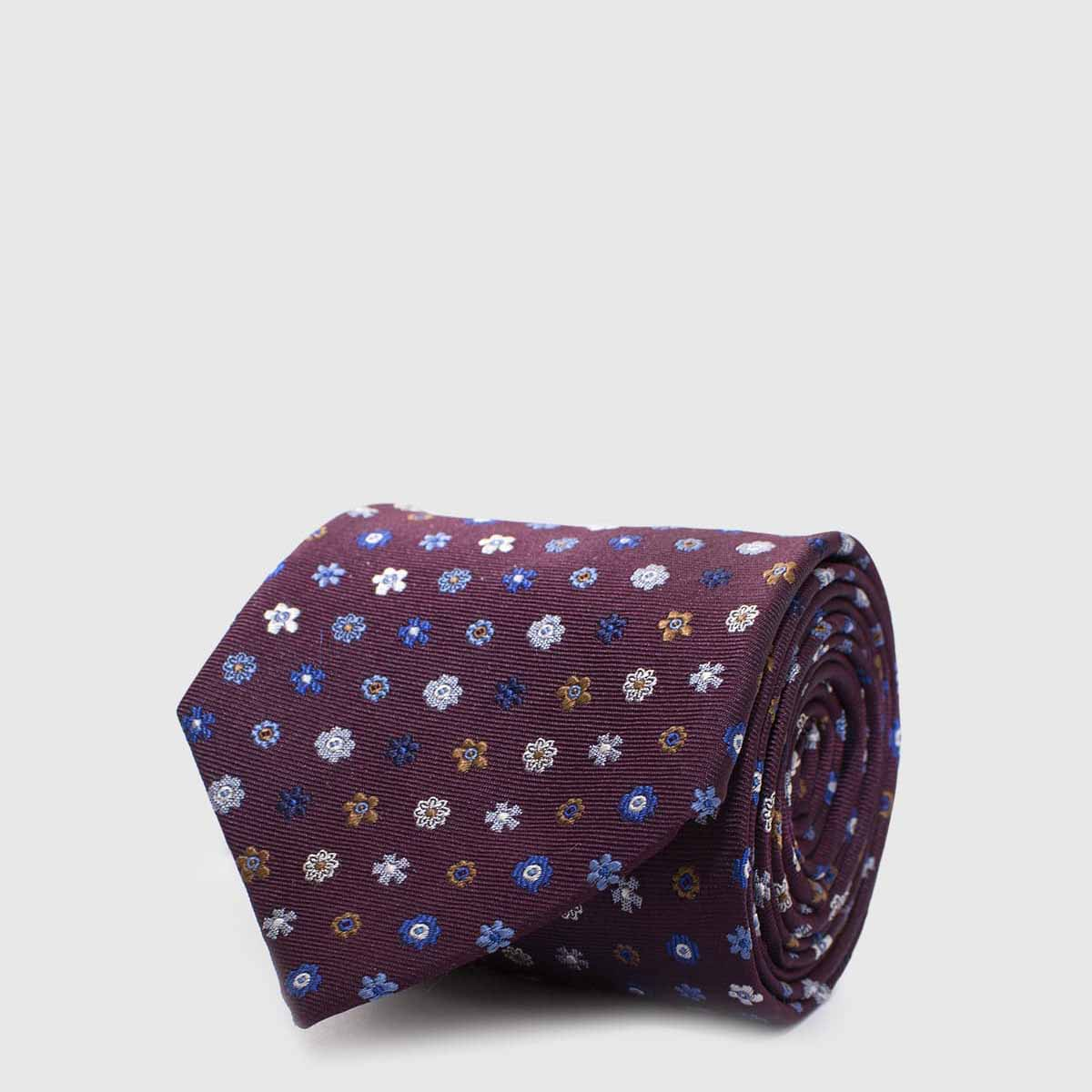 Bordeaux 5 Folds Tie with flowers of various colors