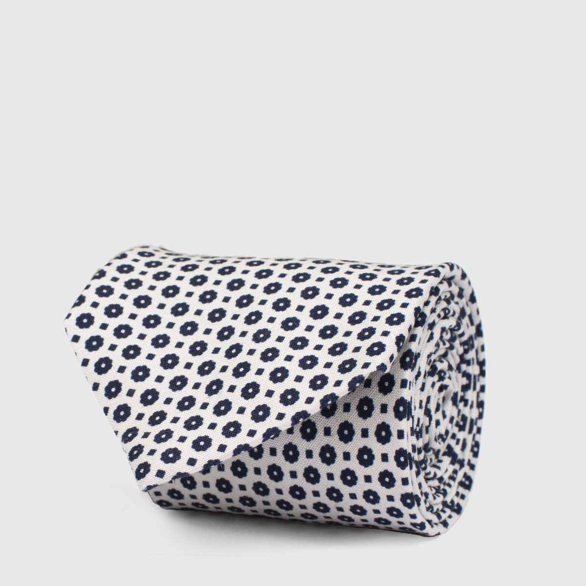 5-Folds cream background Tie with a blue micromotive
