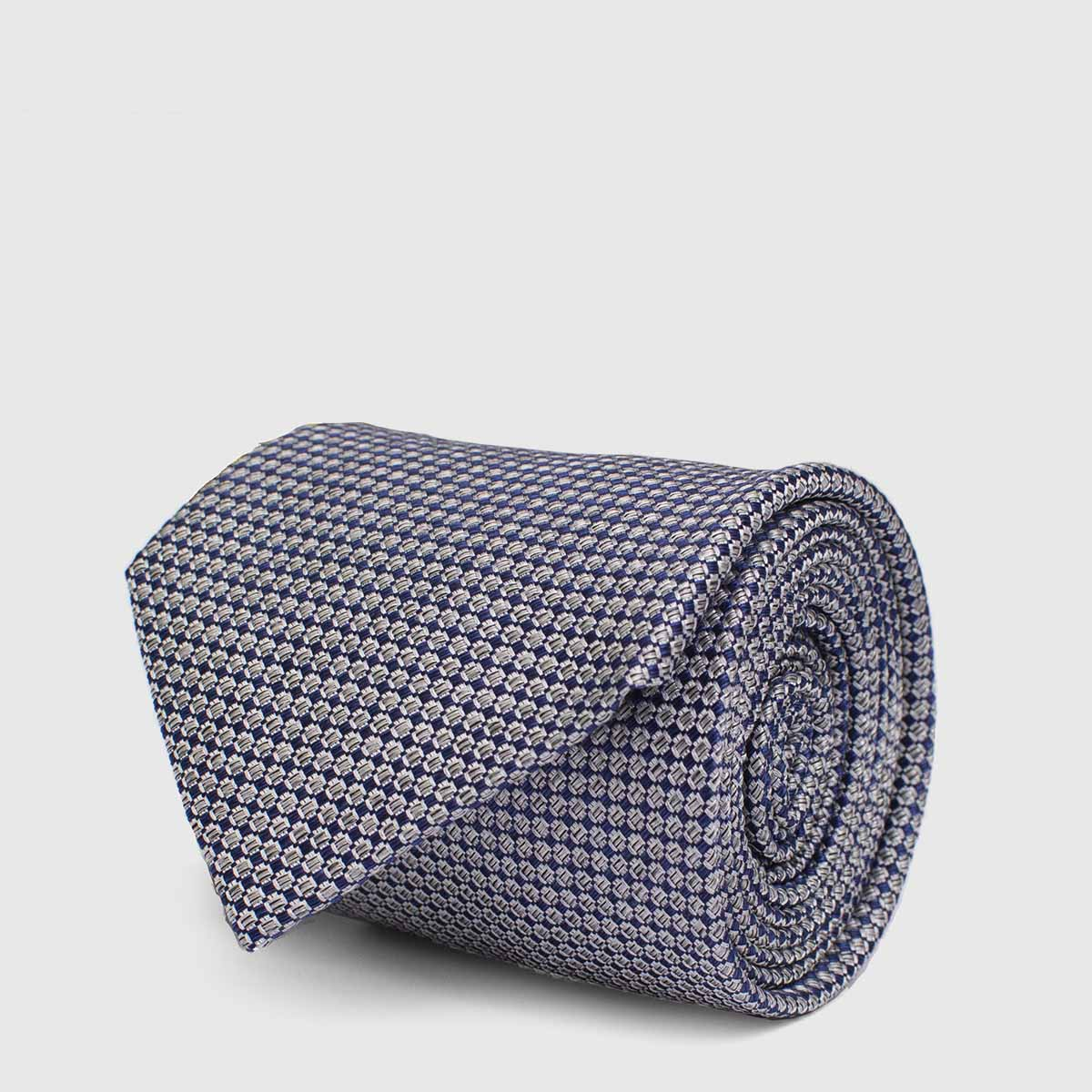 100% Blue and White Silk Tie