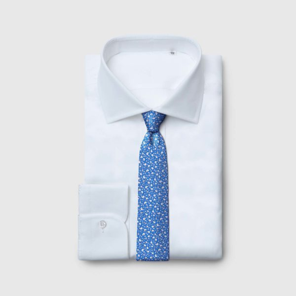 Cravatta 5 pieghe fondo blu e micromotivo uccellino