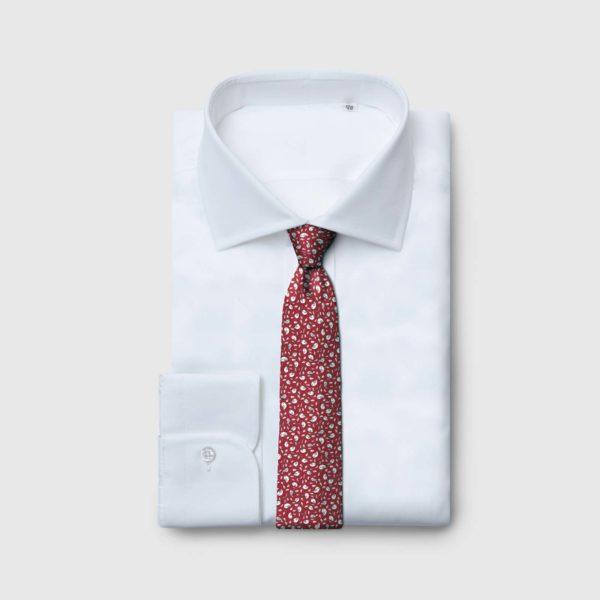Cravatta 5 pieghe fondo rosso e micro motivo uccellino