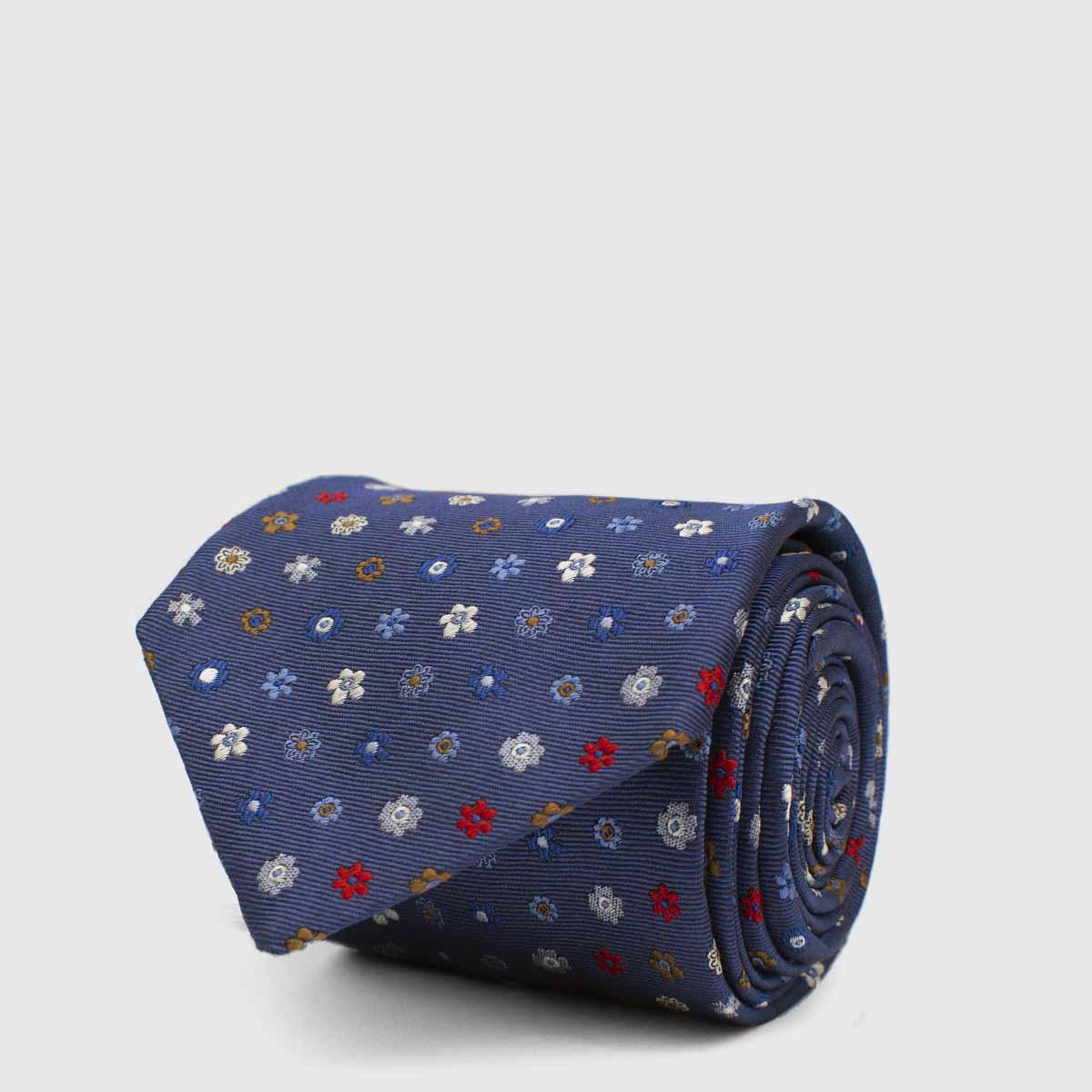 Blue floreal 5-Fold Tie