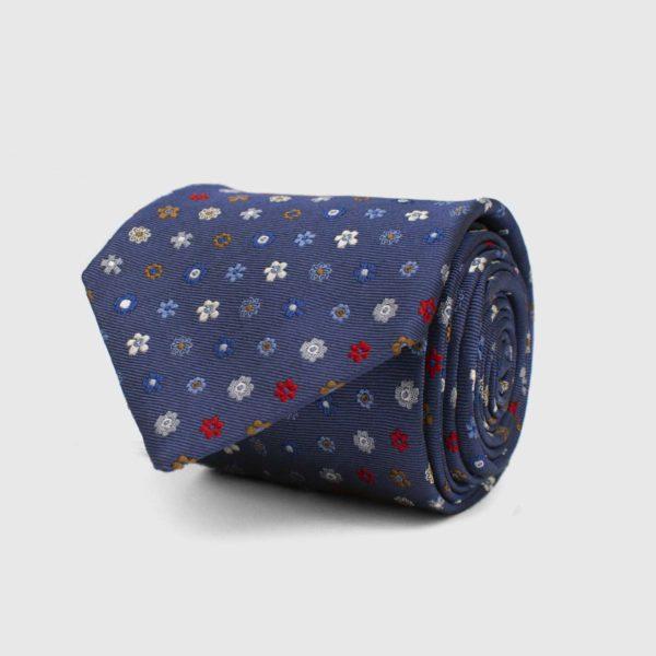 Cravatta 5 pieghe blu con elementi floreali