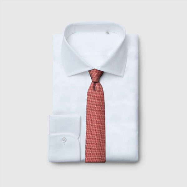 Cravatta 5 pieghecon micro-motivo bianco e rosso