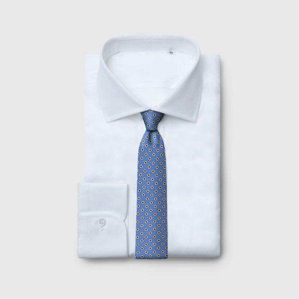 Cravatta 5 pieghe con fiori geometrici