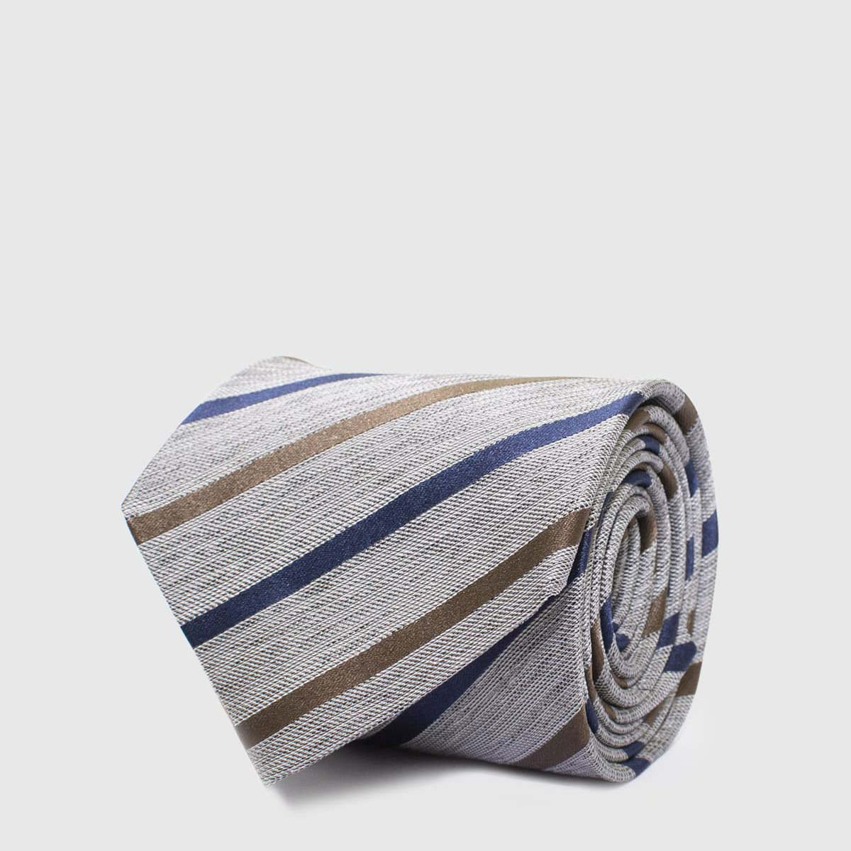 5-Folds Grey striped Tie on a beige background