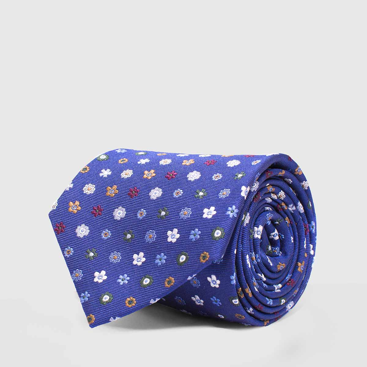 Blue 5-folds Tie with flowers of various colors
