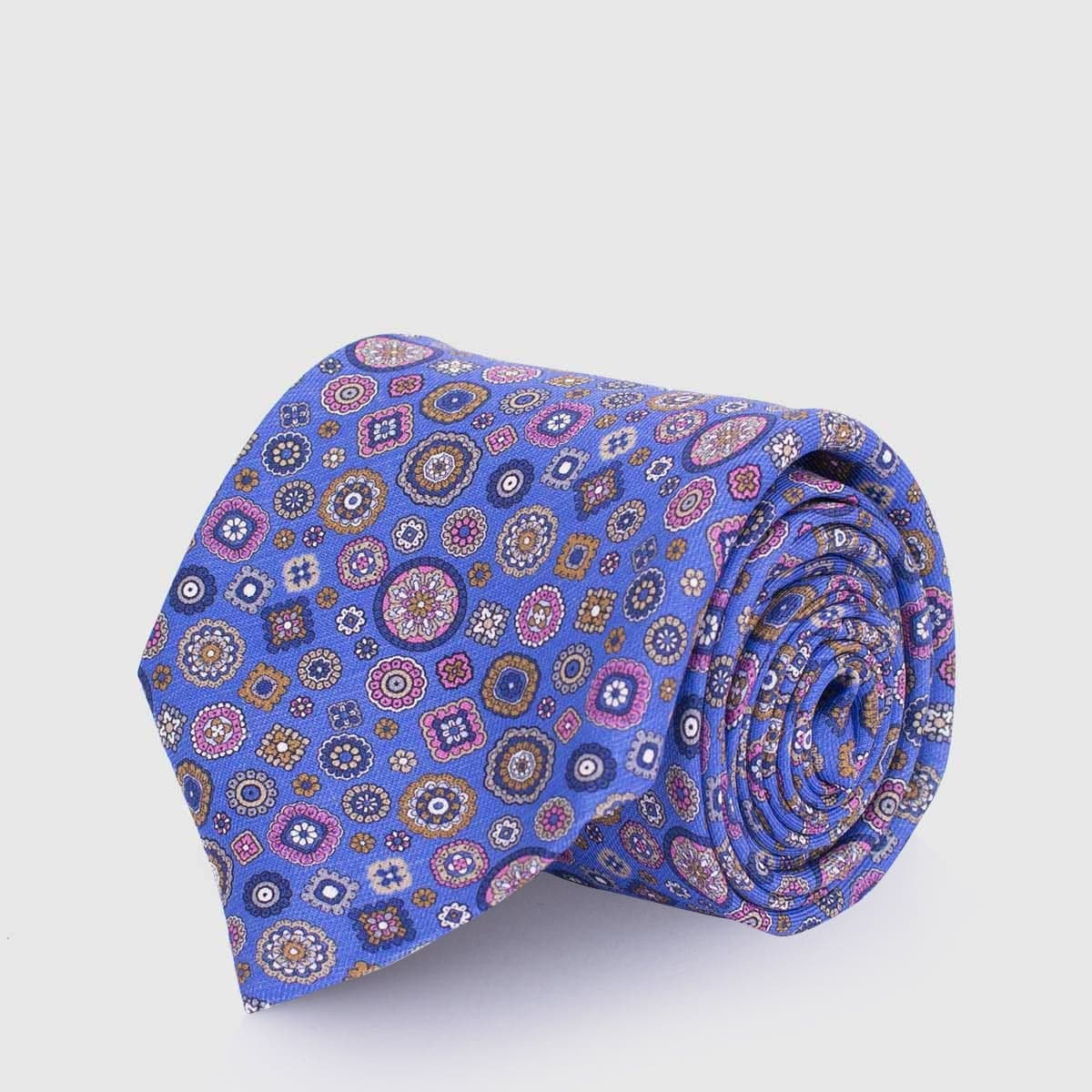 5 Fold azure tie with geometrical patterns