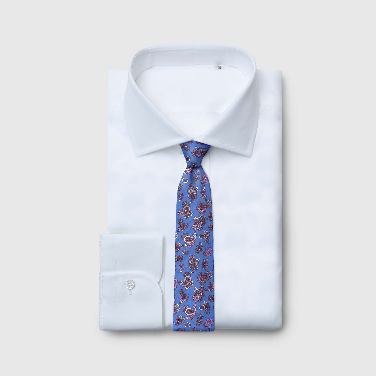 5 Fold azure tie with patterns