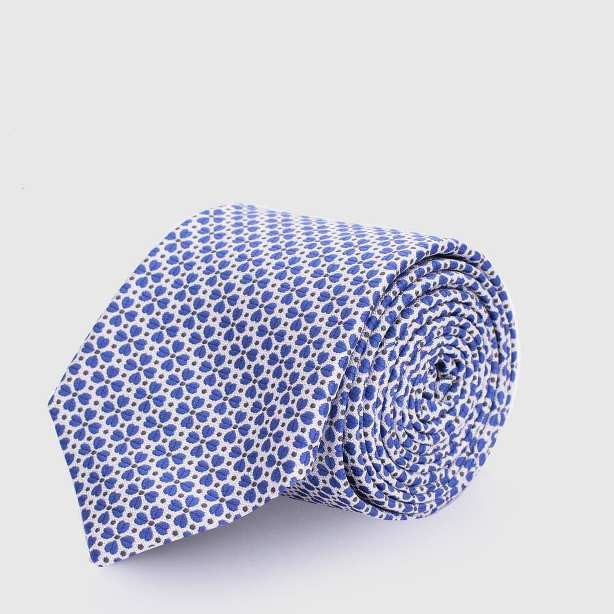 5 Fold white tie with azure petal and grey dots