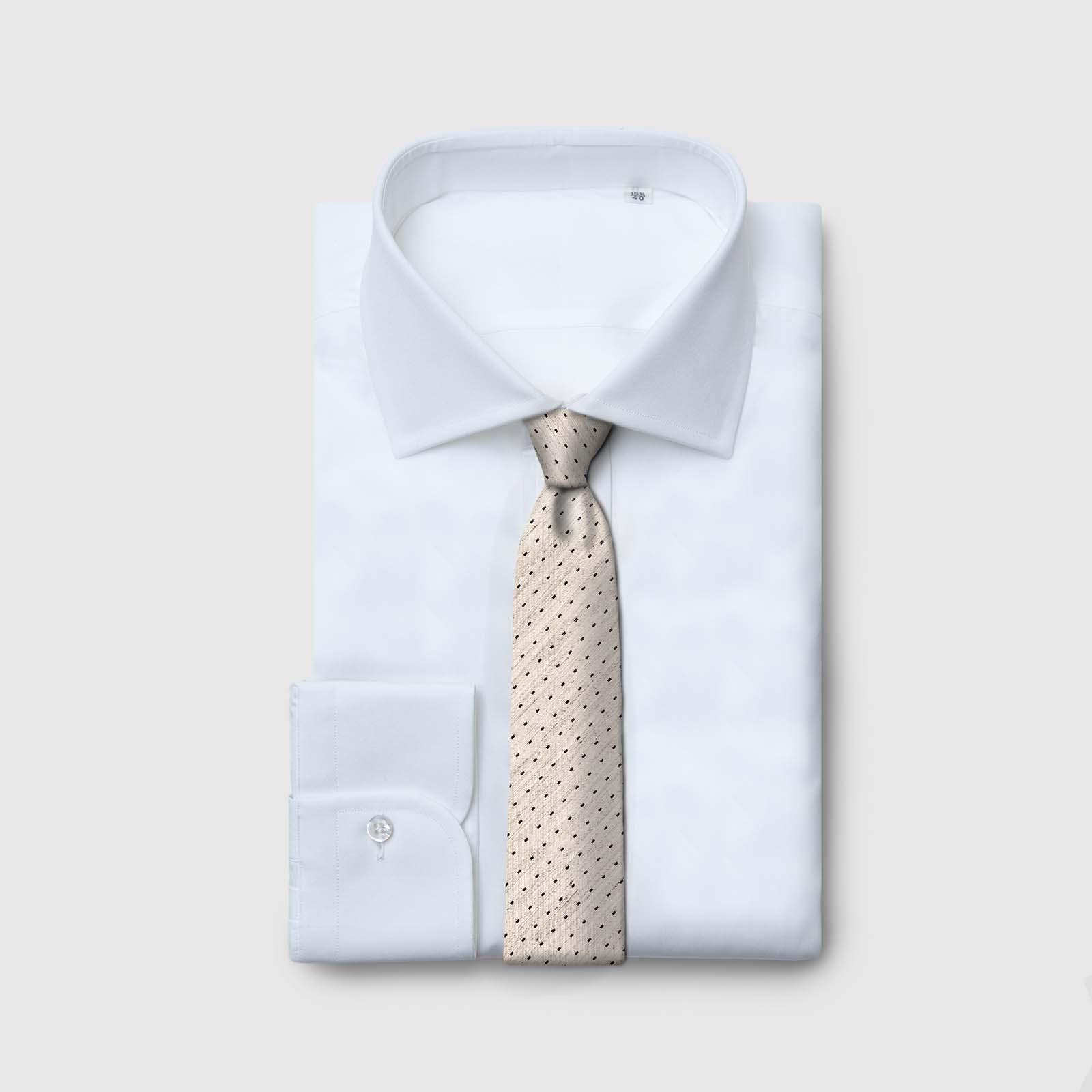 5 Fold beige tie with blue patterns