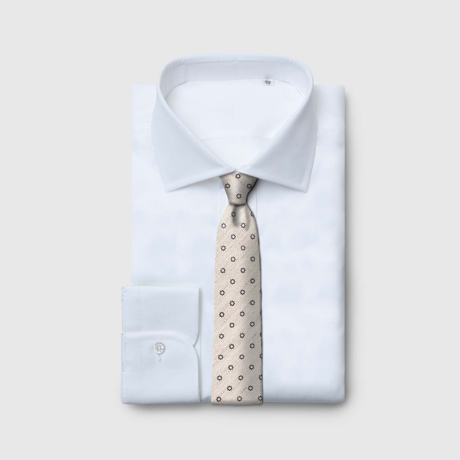 5 Fold beige tie with blue dots