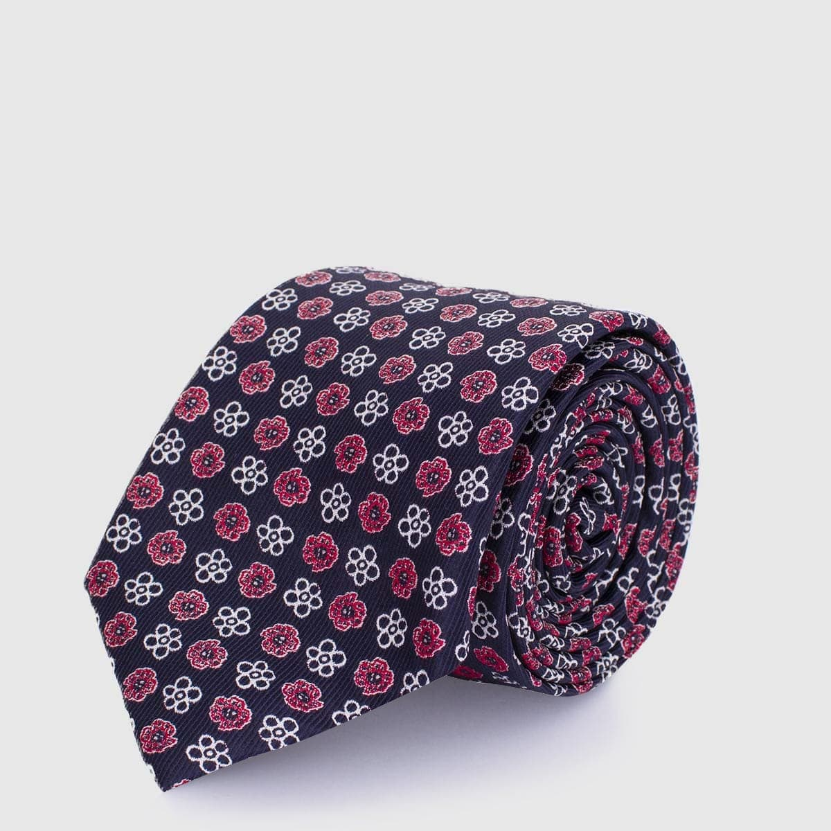 5 Fold black tie with red and white flowers
