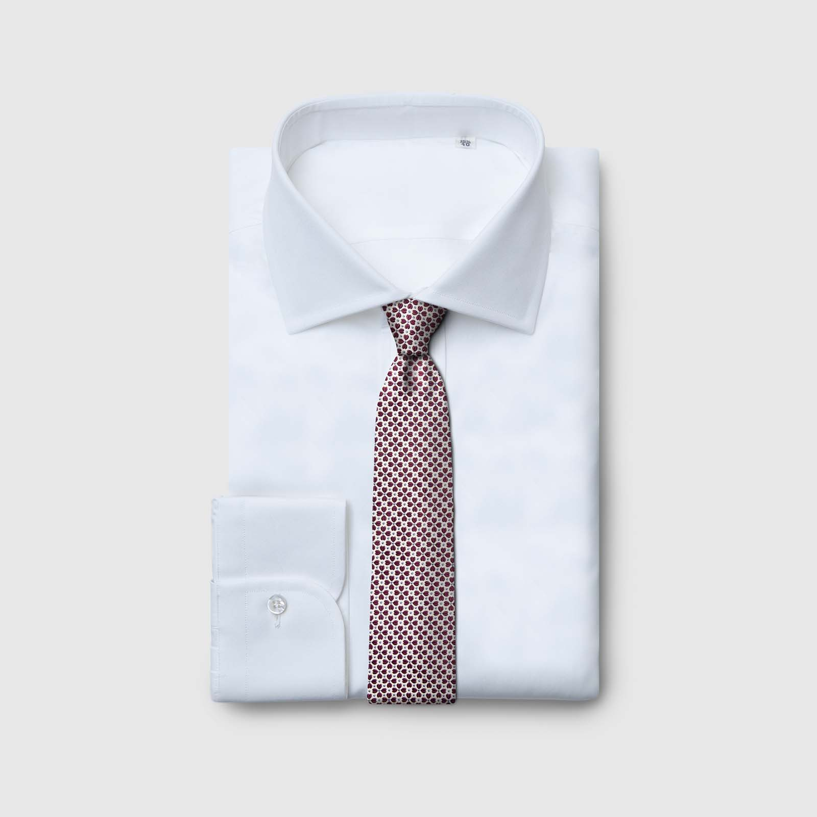 5 Fold white tie with red petals and blue dots