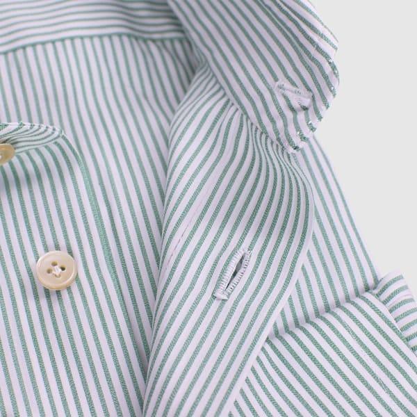 Poplin green-white striped shirt