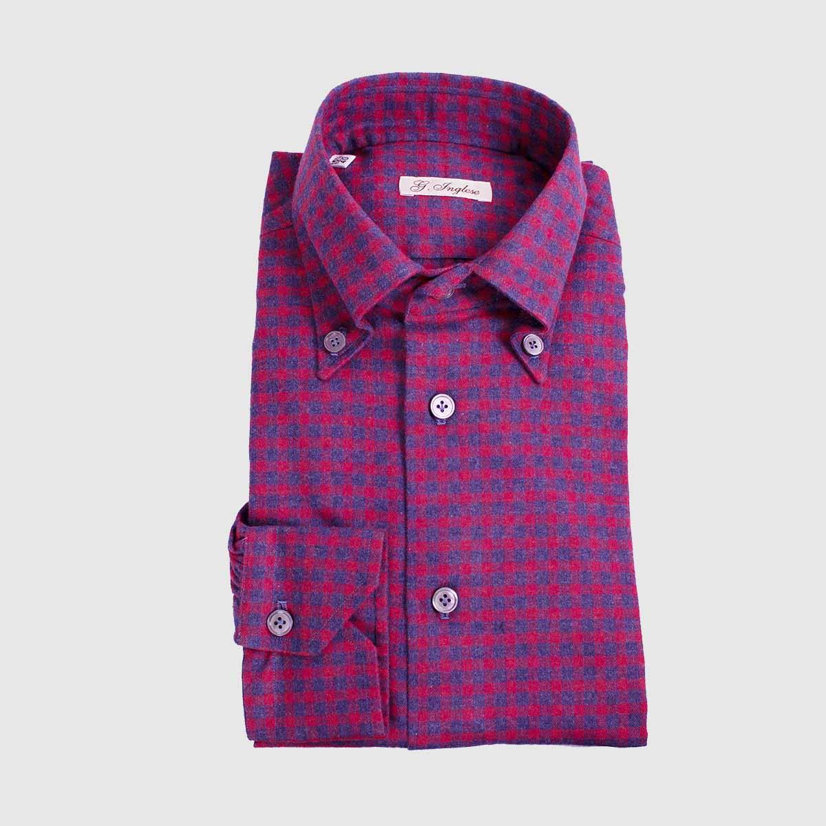 Cotton Red-Blue Gauze Bottom-down Shirt