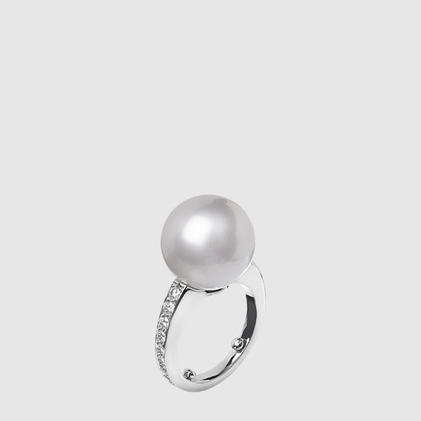 Anello in platino e perla Australiana