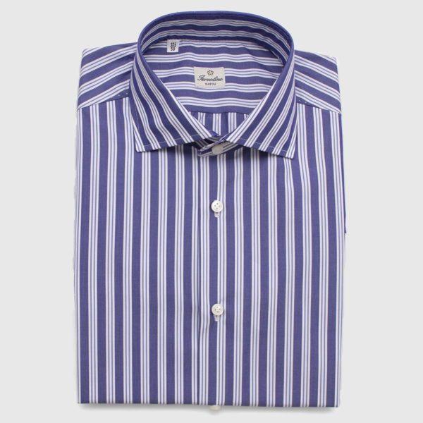 Camicia 100% Cotone rigata 12 Passaggi a Mano