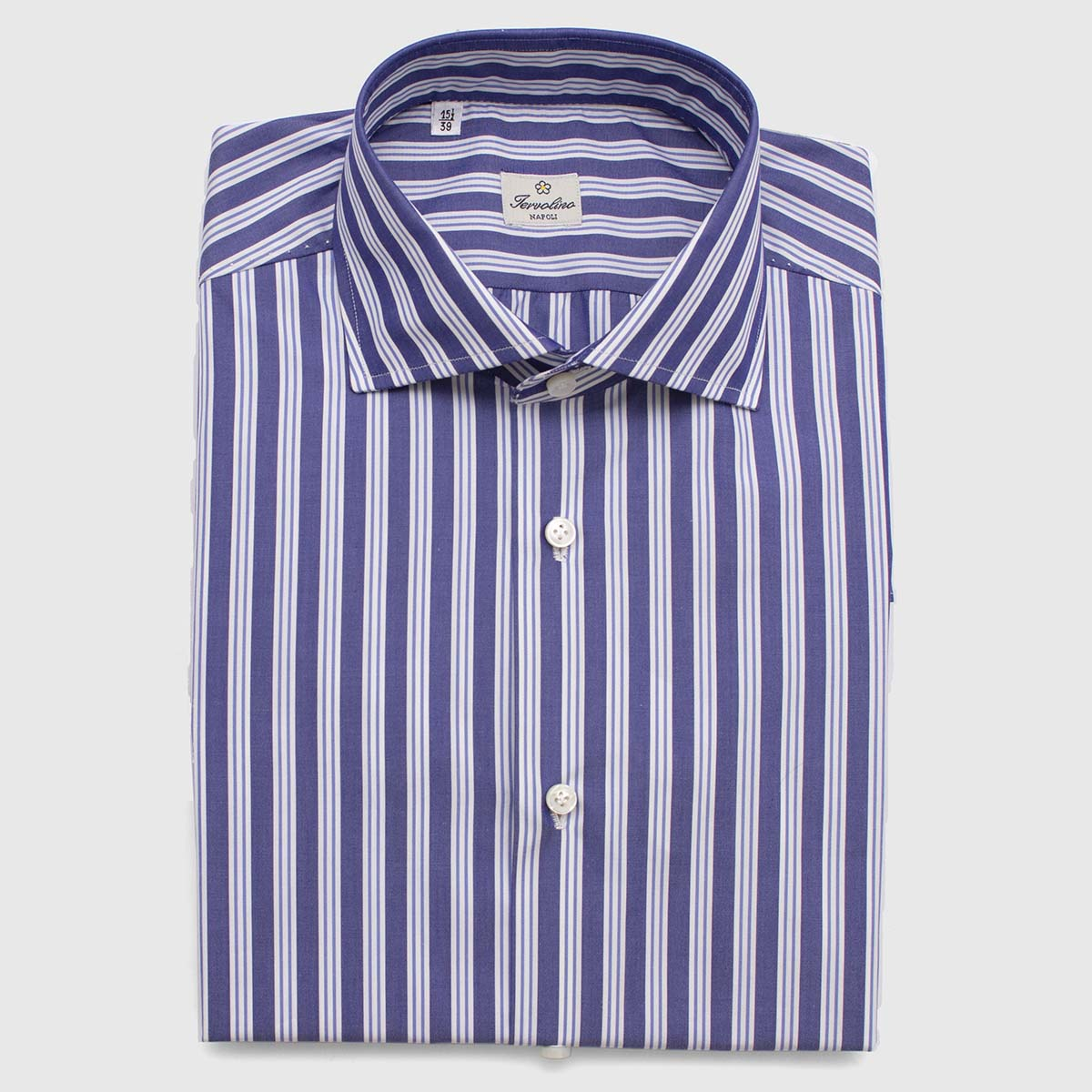 100% Blue and white striped Cotton shirt made in 12 hand-made steps