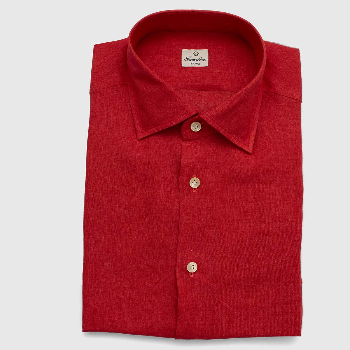 100% Red Linen shirt made with 12 steps by hand
