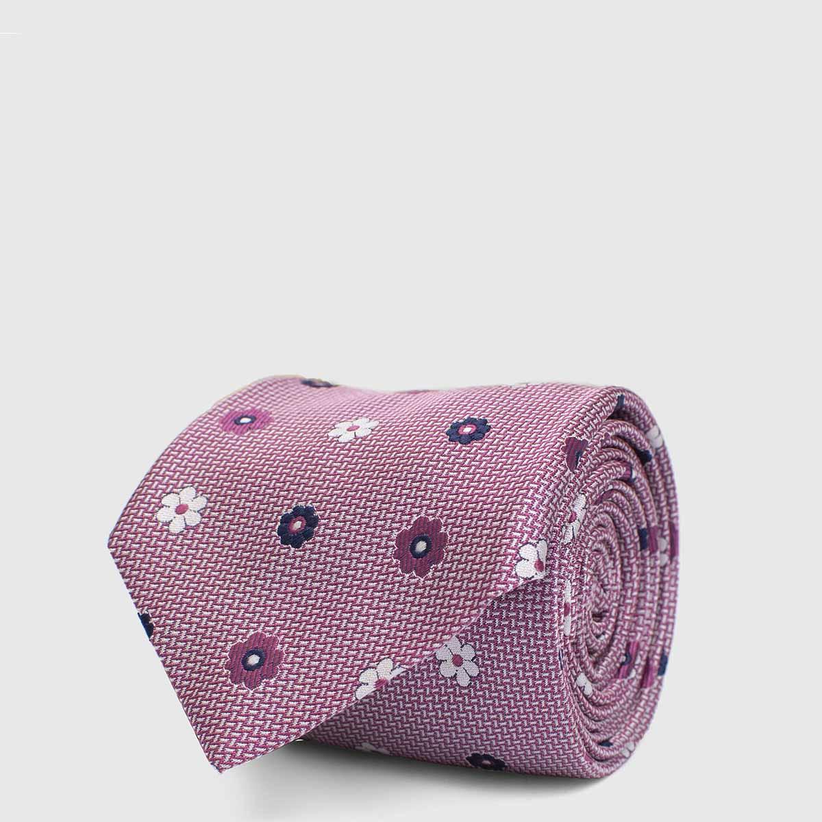 Cravatta 5 pieghe in Seta Jaquard con fiori iconici