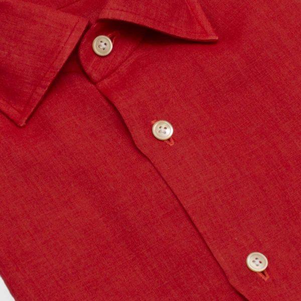 Camicia 100% Lino rosso 12 passaggi a mano
