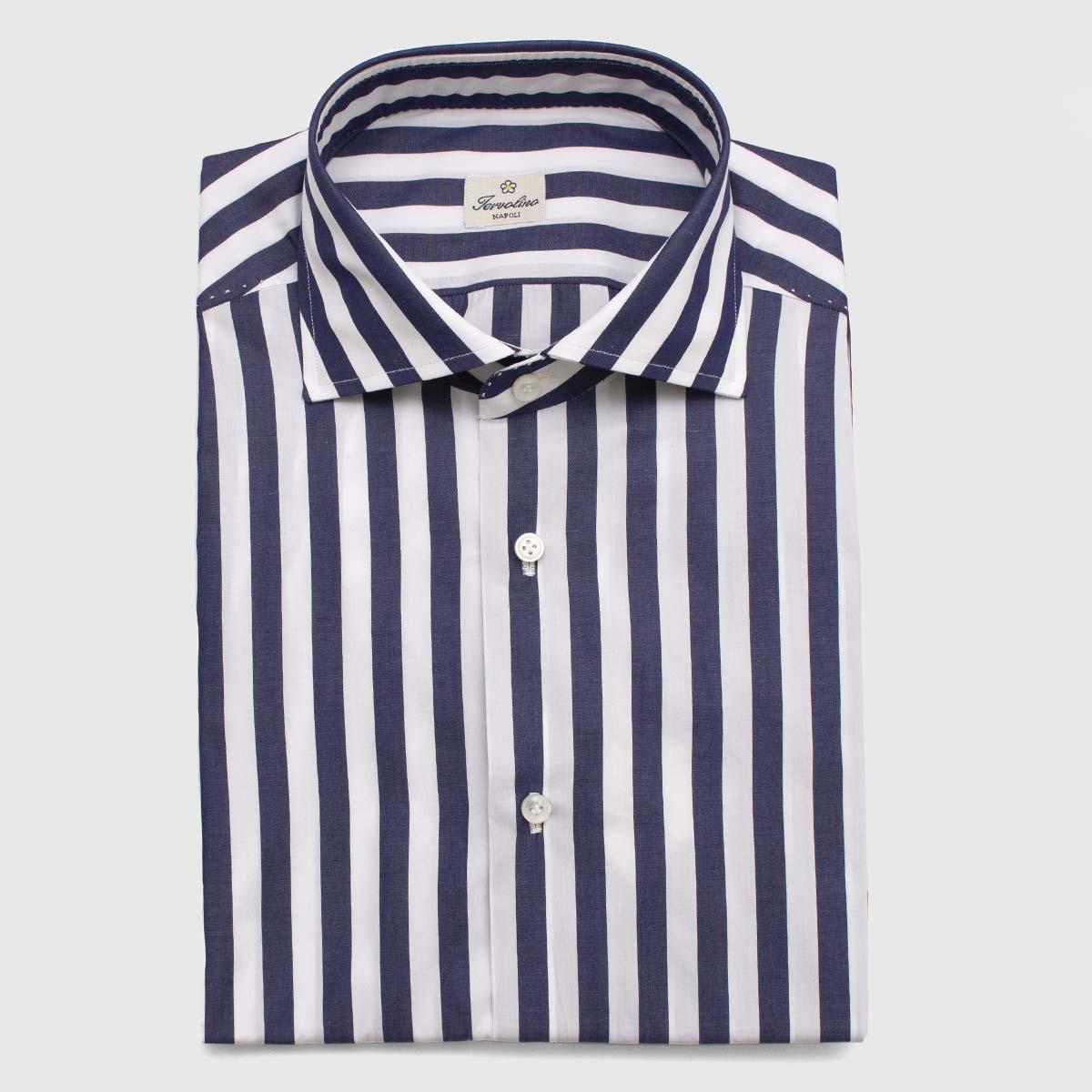 """Camicia 100% Cotone rigato """"Blu navy"""" 12 passaggi"""