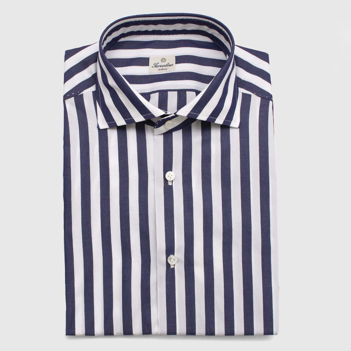 100% Dark blue and white Cotton shirt made in 12 hand-made steps