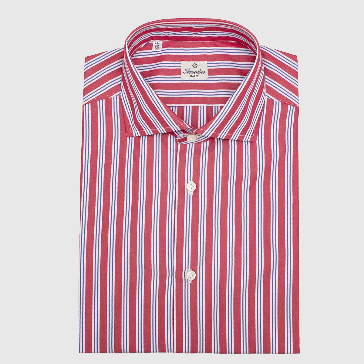 100% red and white striped Cotton shirt made in 12 hand-made steps