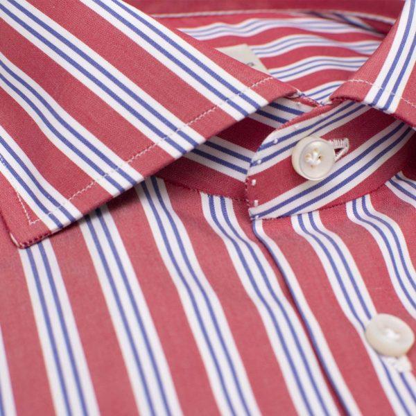 """Camicia 100% Cotone """"righe multi-dimensione"""" 12 Passaggi a mano"""